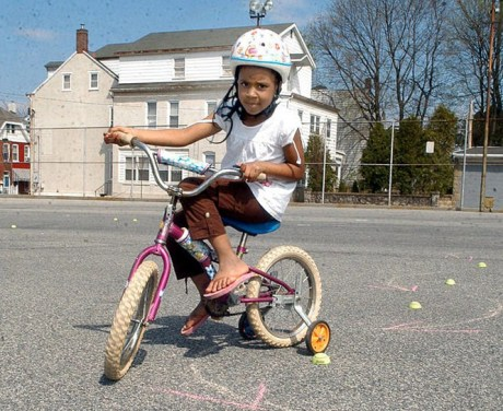 A young cyclist at the Easton Area Community Center
