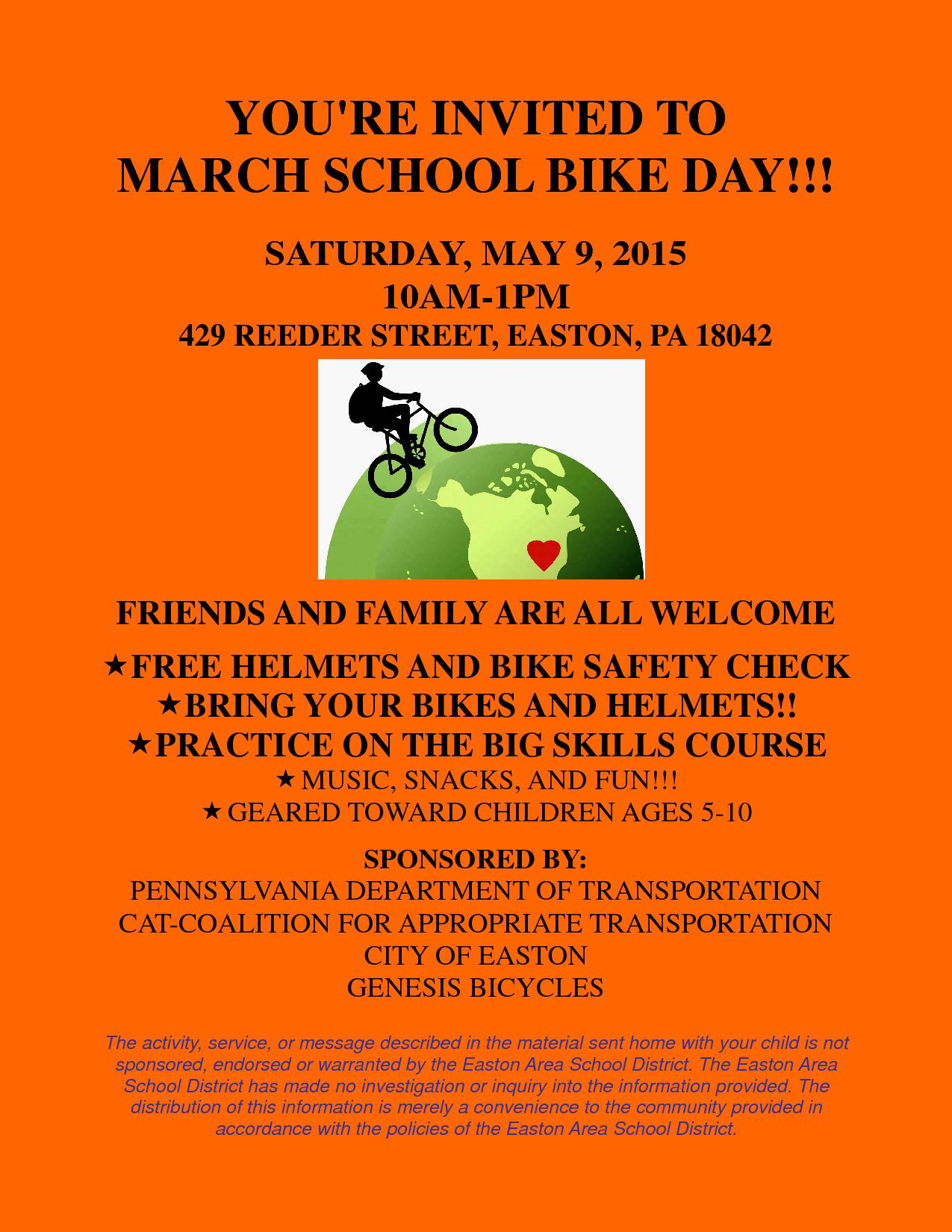 Bike Day at March Elementary School – Saturday May 9th, 10am-1pm